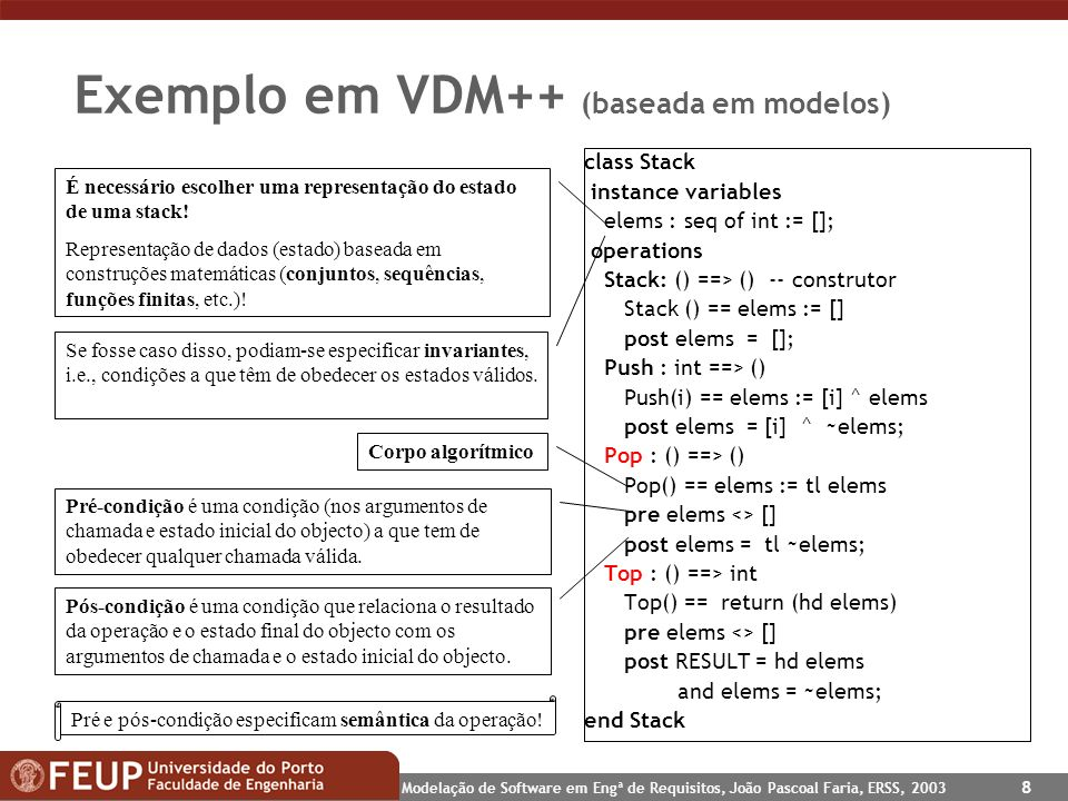 Modelação de Software em Engª de Requisitos, João Pascoal Faria, ERSS, 2003 8 Exemplo em VDM++ (baseada em modelos) class Stack instance variables elems : seq of int := []; operations Stack: () ==> () -- construtor Stack () == elems := [] post elems = []; Push : int ==> () Push(i) == elems := [i] ^ elems post elems = [i] ^ ~elems; Pop : () ==> () Pop() == elems := tl elems pre elems <> [] post elems = tl ~elems; Top : () ==> int Top() == return (hd elems) pre elems <> [] post RESULT = hd elems and elems = ~elems; end Stack É necessário escolher uma representação do estado de uma stack.