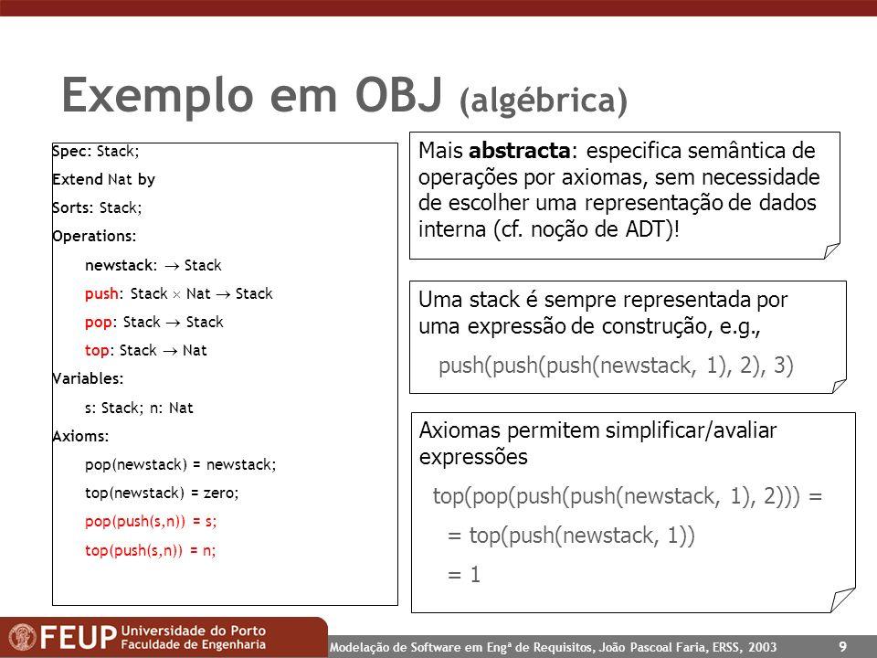 Modelação de Software em Engª de Requisitos, João Pascoal Faria, ERSS, 2003 9 Exemplo em OBJ (algébrica) Spec: Stack; Extend Nat by Sorts: Stack; Oper