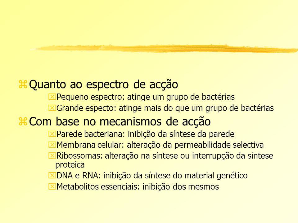 zQuanto ao espectro de acção xPequeno espectro: atinge um grupo de bactérias xGrande especto: atinge mais do que um grupo de bactérias zCom base no me