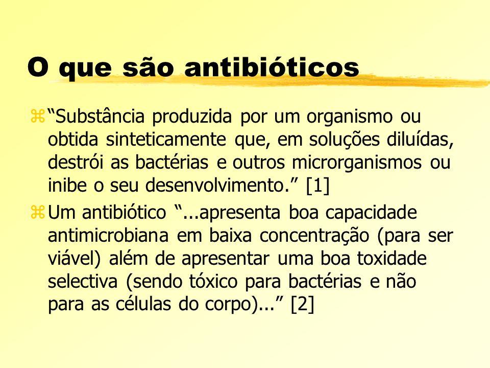 O que são antibióticos zSubstância produzida por um organismo ou obtida sinteticamente que, em soluções diluídas, destrói as bactérias e outros micror