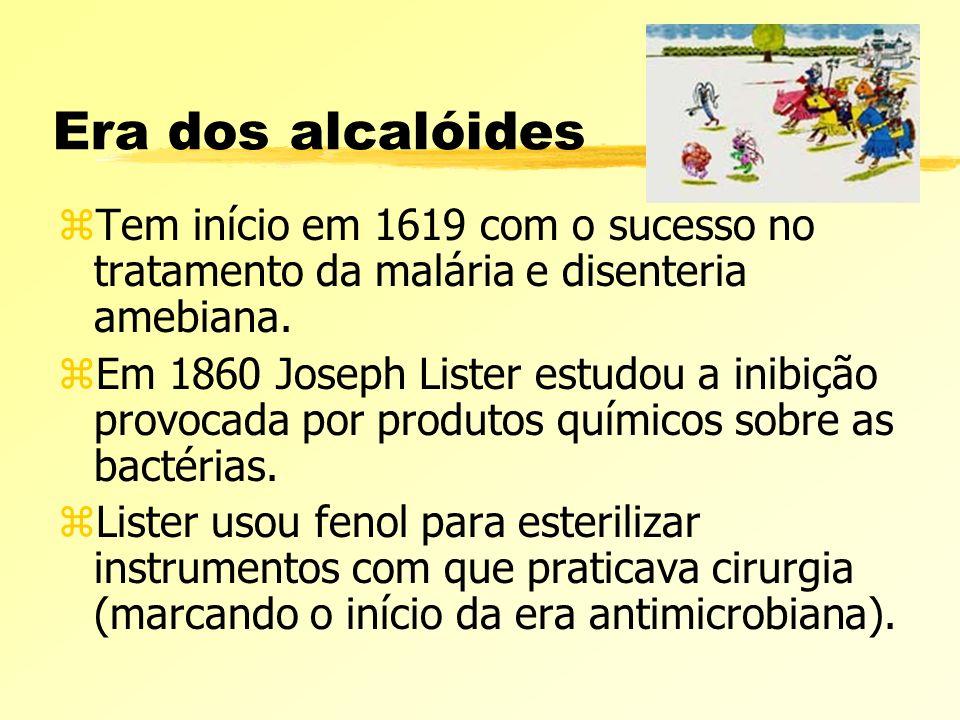 Era dos alcalóides zTem início em 1619 com o sucesso no tratamento da malária e disenteria amebiana. zEm 1860 Joseph Lister estudou a inibição provoca