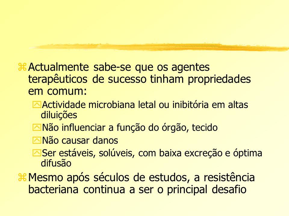 zActualmente sabe-se que os agentes terapêuticos de sucesso tinham propriedades em comum: yActividade microbiana letal ou inibitória em altas diluiçõe