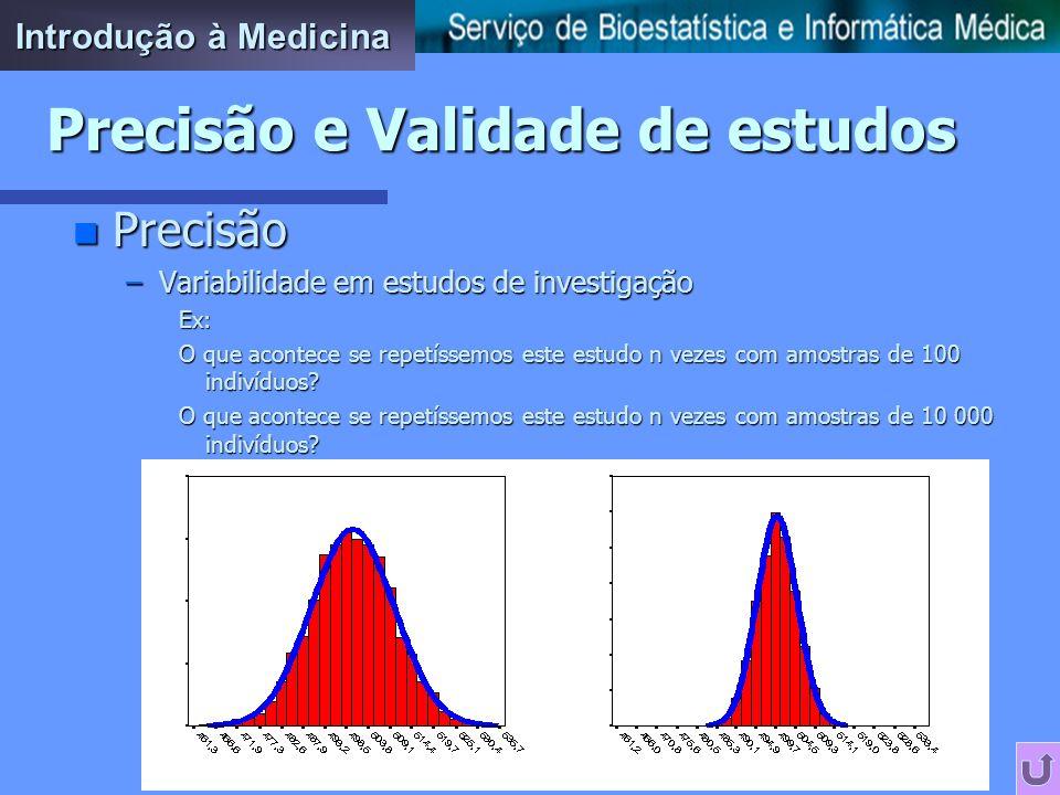 n Precisão –Variabilidade em estudos de investigação Ex: Qual é a prevalência de hipercolesterolemia na população do Porto? Estudo transversal numa am