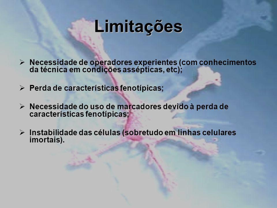 Limitações Necessidade de operadores experientes (com conhecimentos da técnica em condições assépticas, etc); Perda de características fenotípicas; Ne