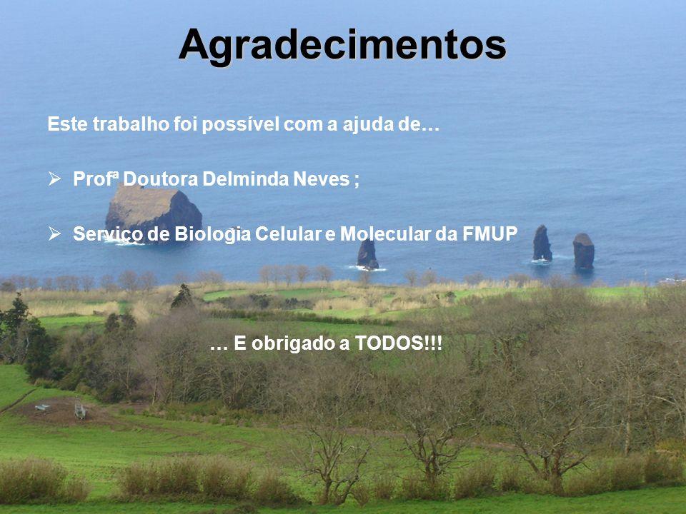 Agradecimentos Este trabalho foi possível com a ajuda de… Profª Doutora Delminda Neves ; Serviço de Biologia Celular e Molecular da FMUP … E obrigado