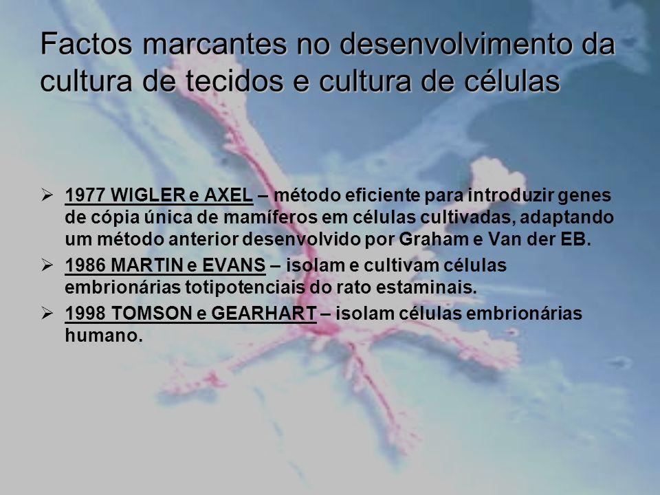 Desvantagens da Cultura Celular Gasto elevado de material; Condição de crescimento da cultura; Instabilidade de cultura celular; Perda de características; Dificuldade de extrapolação para o modelo de organismo intacto.