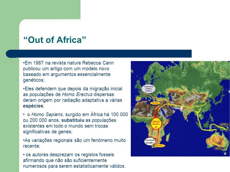 Out of Africa Em 1987 na revista nature Rebecca Cann publicou um artigo com um modelo novo baseado em argumentos essencialmente genéticos; Eles defend