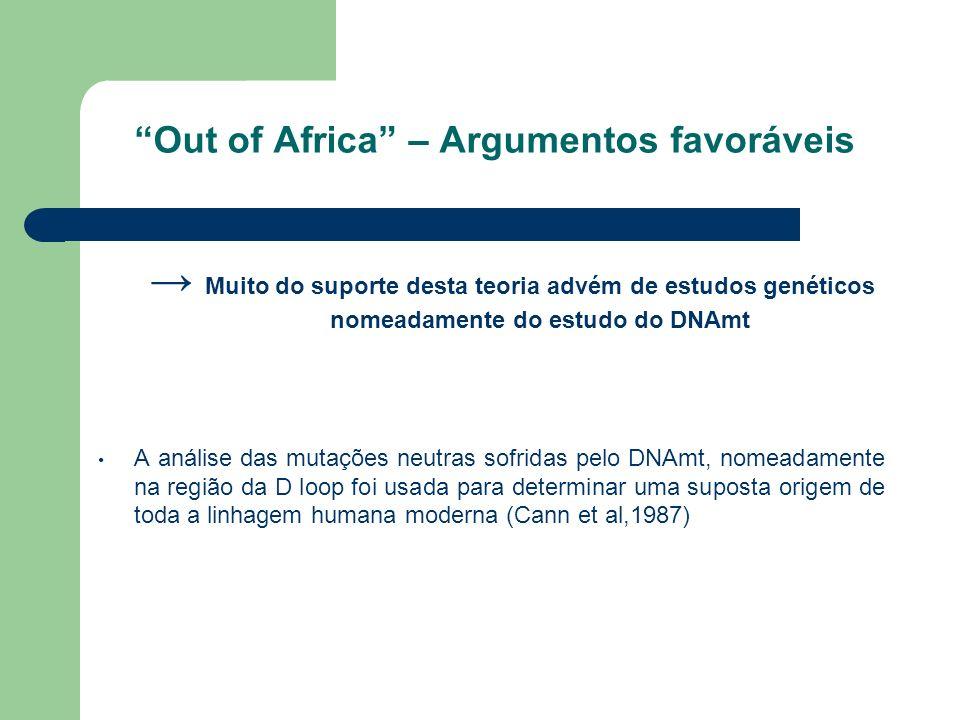 Out of Africa – Argumentos favoráveis Muito do suporte desta teoria advém de estudos genéticos nomeadamente do estudo do DNAmt A análise das mutações