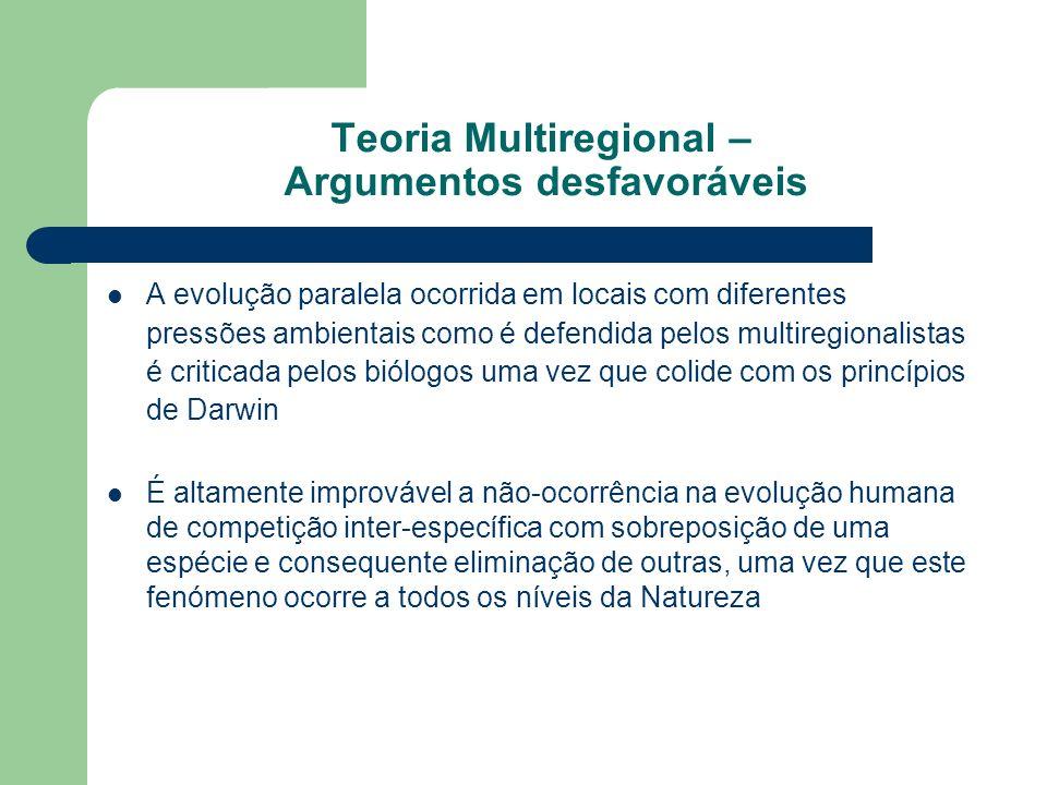 A evolução paralela ocorrida em locais com diferentes pressões ambientais como é defendida pelos multiregionalistas é criticada pelos biólogos uma vez