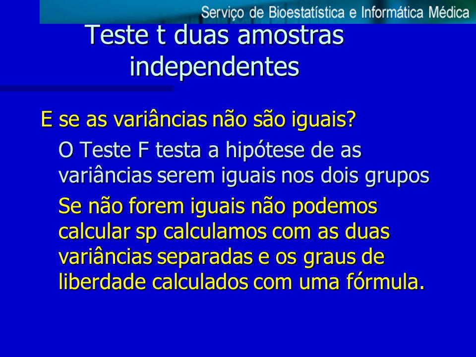 Teste t duas amostras independentes E se as variâncias não são iguais? O Teste F testa a hipótese de as variâncias serem iguais nos dois grupos Se não