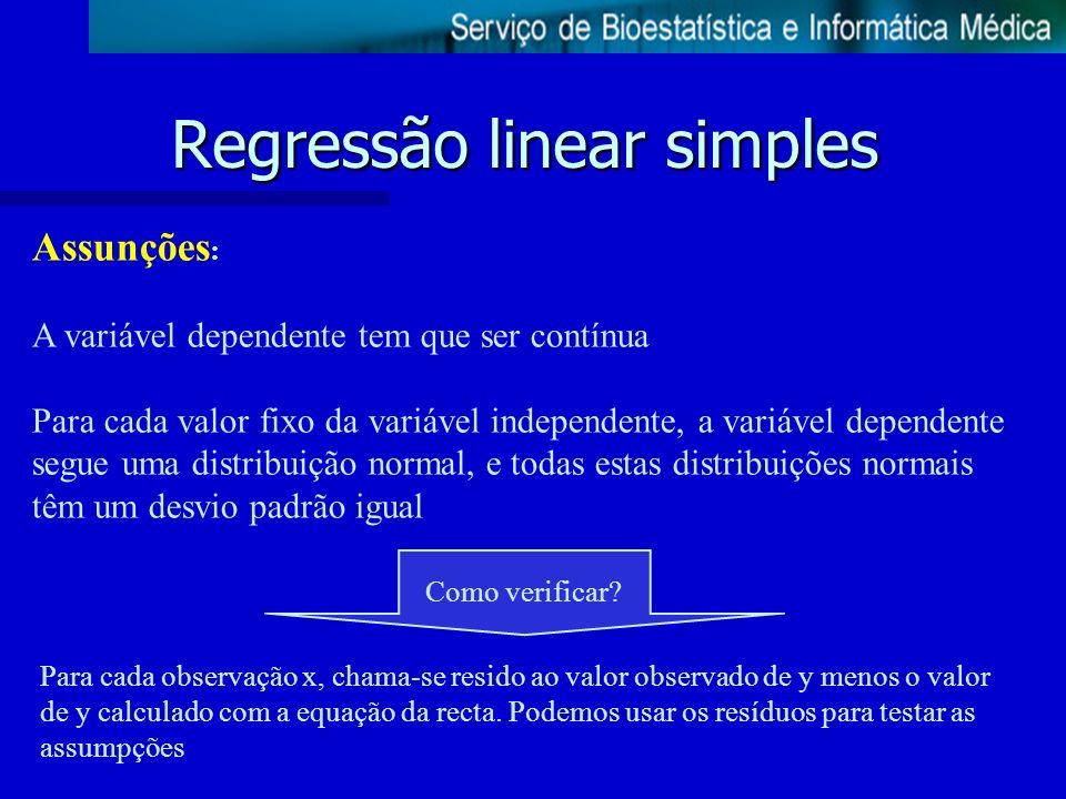 Regressão linear simples Assunções : A variável dependente tem que ser contínua Para cada valor fixo da variável independente, a variável dependente s