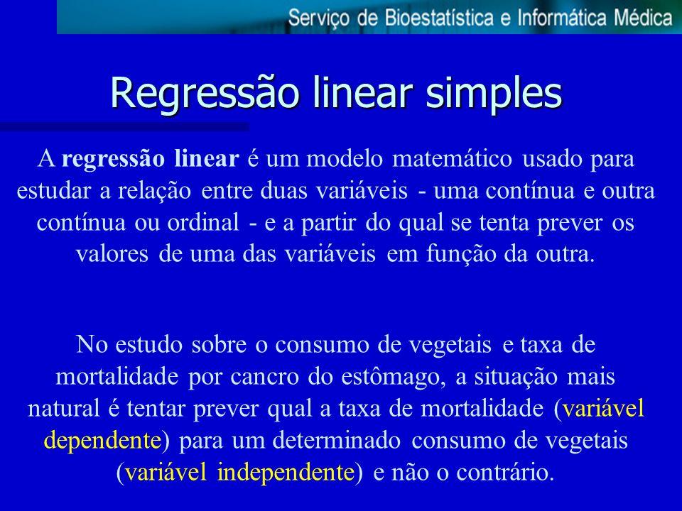 Regressão linear simples A regressão linear é um modelo matemático usado para estudar a relação entre duas variáveis - uma contínua e outra contínua o