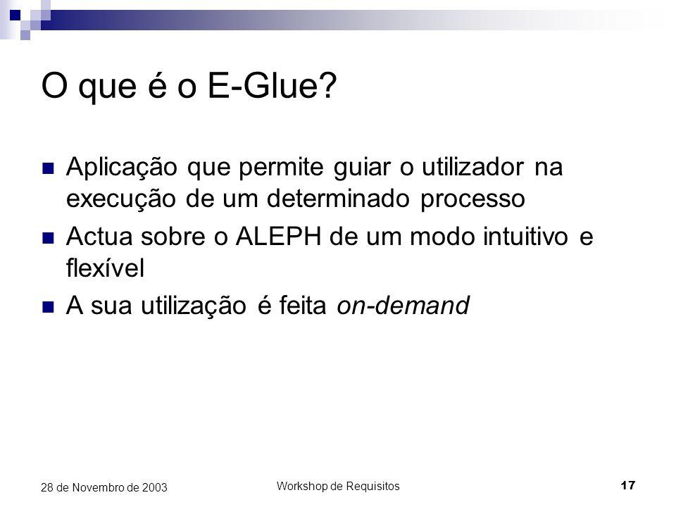 Workshop de Requisitos17 28 de Novembro de 2003 O que é o E-Glue? Aplicação que permite guiar o utilizador na execução de um determinado processo Actu