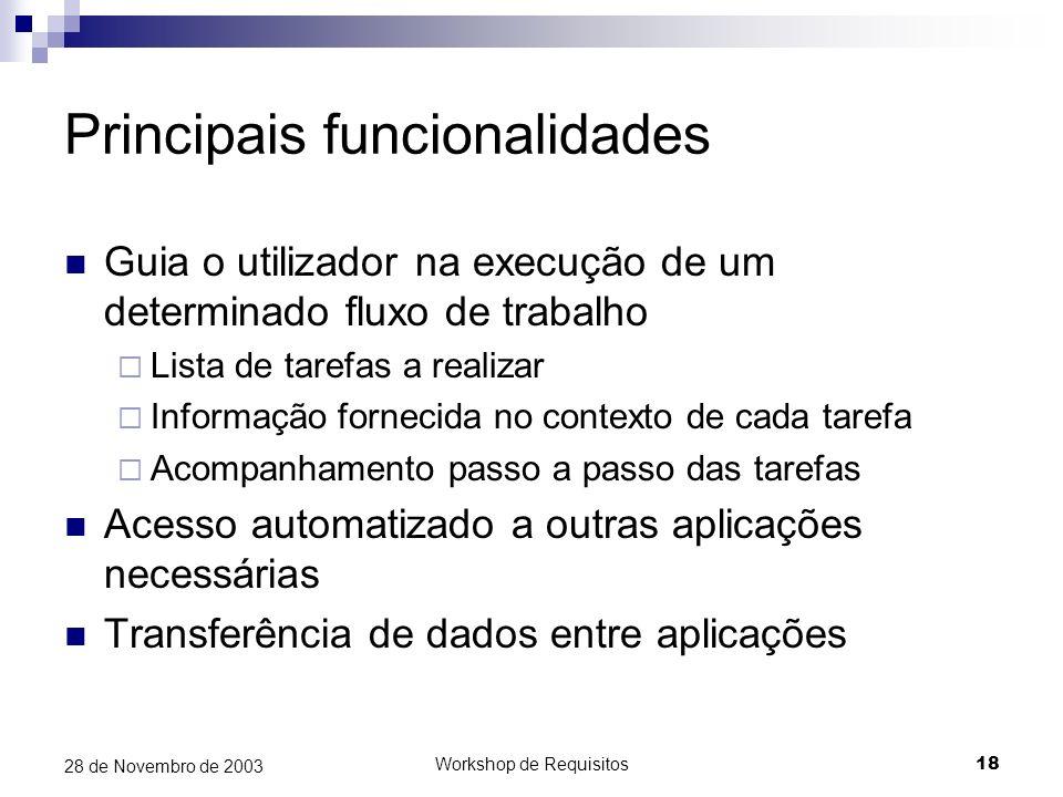 Workshop de Requisitos18 28 de Novembro de 2003 Principais funcionalidades Guia o utilizador na execução de um determinado fluxo de trabalho Lista de