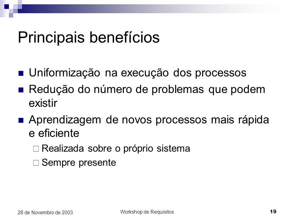Workshop de Requisitos19 28 de Novembro de 2003 Principais benefícios Uniformização na execução dos processos Redução do número de problemas que podem