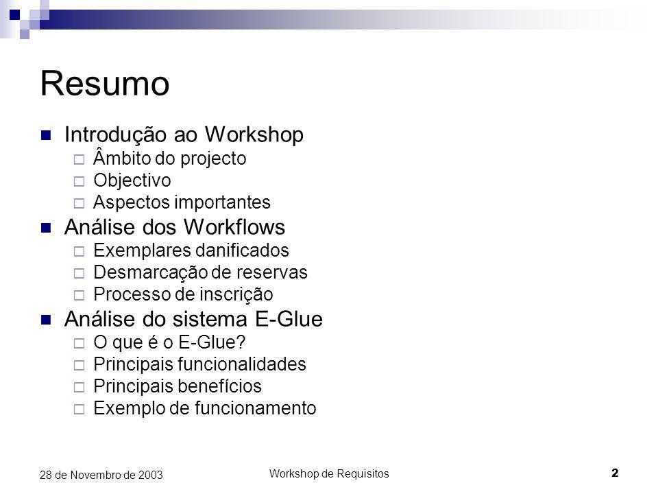 Workshop de Requisitos2 28 de Novembro de 2003 Resumo Introdução ao Workshop Âmbito do projecto Objectivo Aspectos importantes Análise dos Workflows E