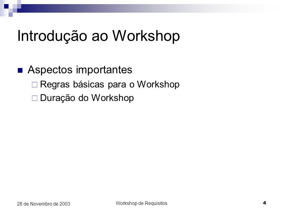 Workshop de Requisitos4 28 de Novembro de 2003 Introdução ao Workshop Aspectos importantes Regras básicas para o Workshop Duração do Workshop