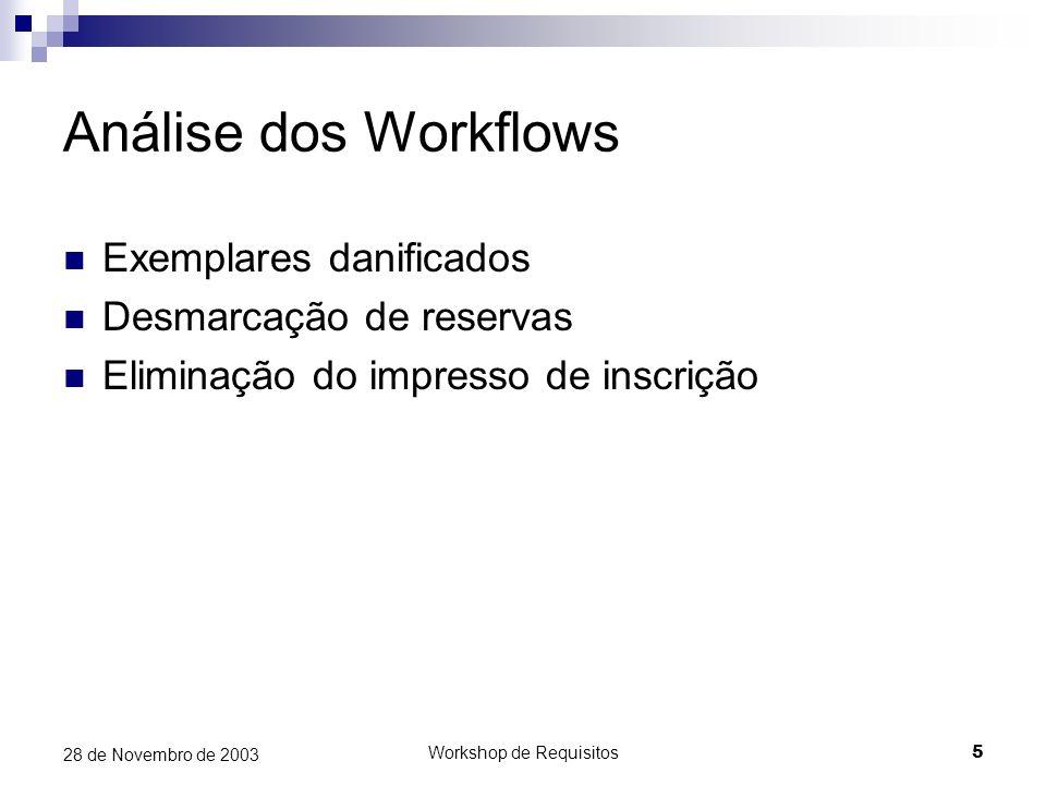 Workshop de Requisitos5 28 de Novembro de 2003 Análise dos Workflows Exemplares danificados Desmarcação de reservas Eliminação do impresso de inscriçã
