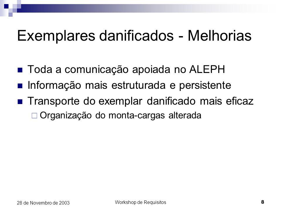 Workshop de Requisitos8 28 de Novembro de 2003 Exemplares danificados - Melhorias Toda a comunicação apoiada no ALEPH Informação mais estruturada e pe