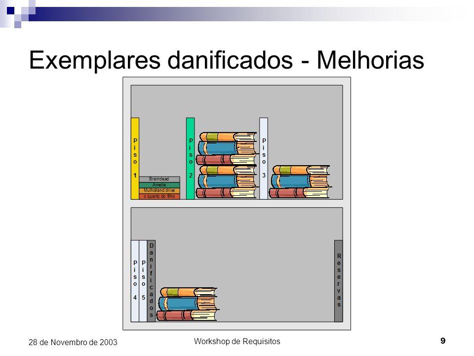 Workshop de Requisitos9 28 de Novembro de 2003 Exemplares danificados - Melhorias
