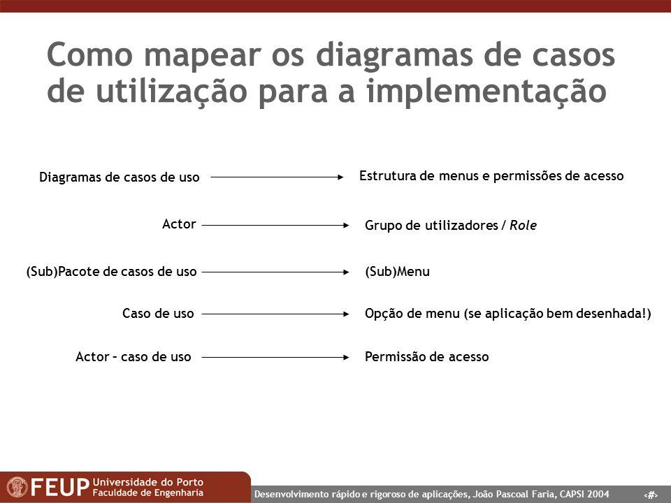 10 Desenvolvimento rápido e rigoroso de aplicações, João Pascoal Faria, CAPSI 2004 Como mapear os diagramas de casos de utilização para a implementaçã
