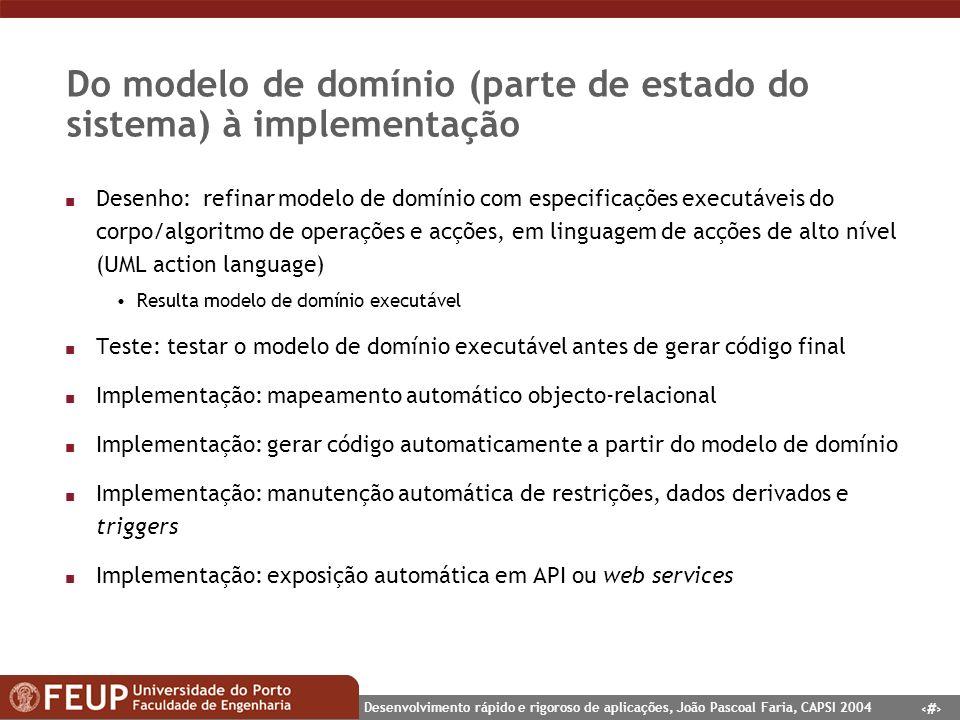 14 Desenvolvimento rápido e rigoroso de aplicações, João Pascoal Faria, CAPSI 2004 Do modelo de domínio (parte de estado do sistema) à implementação n