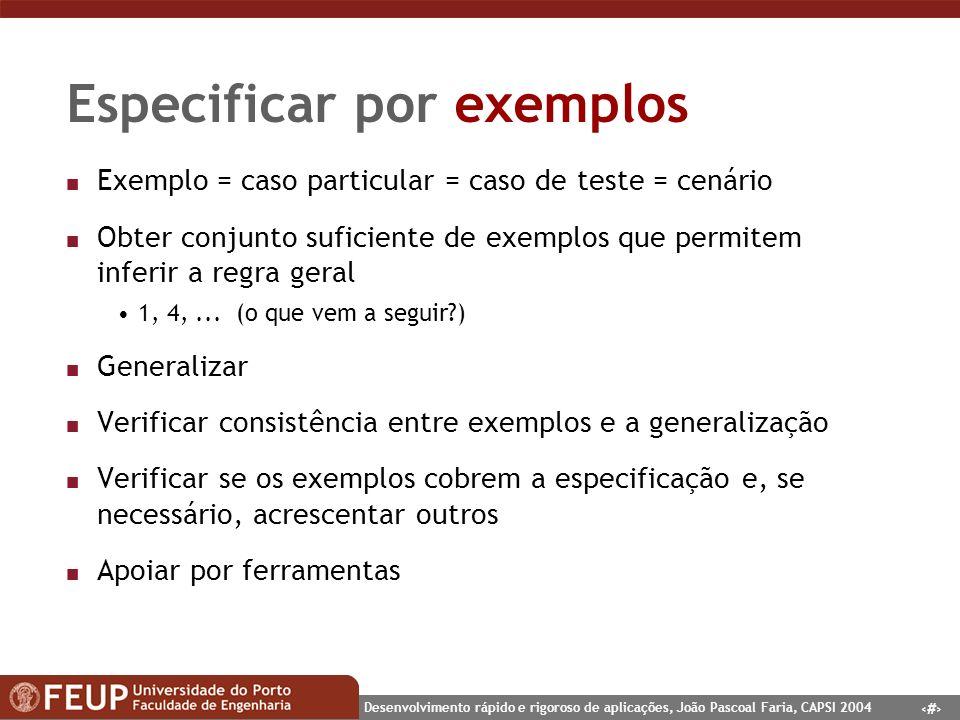 16 Desenvolvimento rápido e rigoroso de aplicações, João Pascoal Faria, CAPSI 2004 Especificar por exemplos n Exemplo = caso particular = caso de test