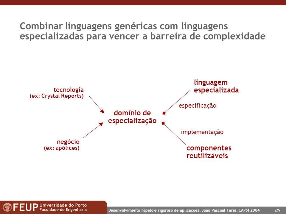 7 Desenvolvimento rápido e rigoroso de aplicações, João Pascoal Faria, CAPSI 2004 Combinar linguagens genéricas com linguagens especializadas para ven