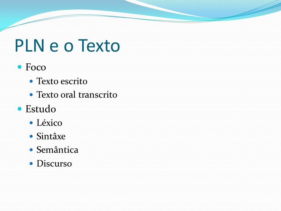 PLN e o Texto Foco Texto escrito Texto oral transcrito Estudo Léxico Sintâxe Semântica Discurso