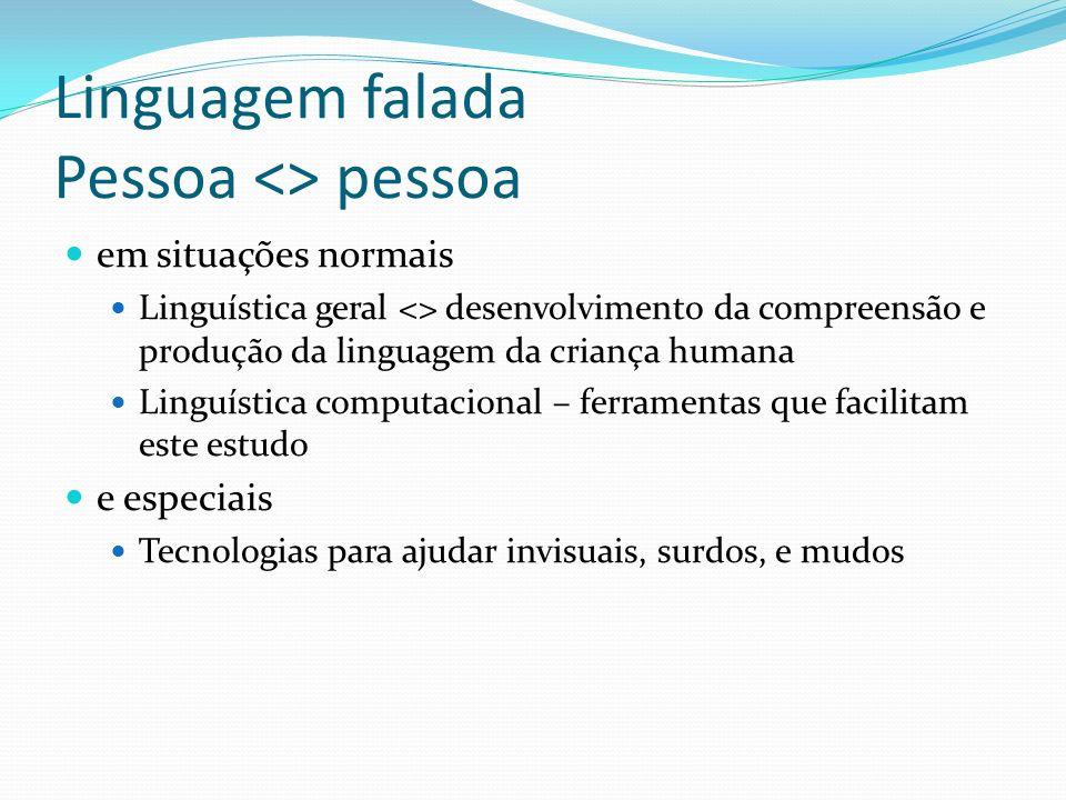 Linguagem falada Pessoa <> pessoa em situações normais Linguística geral <> desenvolvimento da compreensão e produção da linguagem da criança humana L