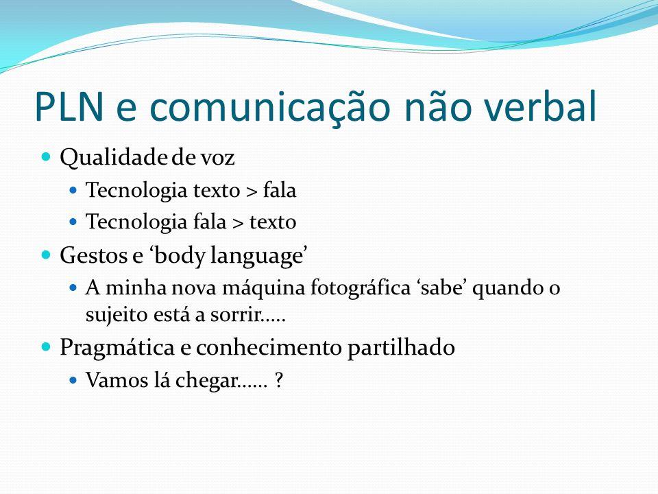 PLN e comunicação não verbal Qualidade de voz Tecnologia texto > fala Tecnologia fala > texto Gestos e body language A minha nova máquina fotográfica