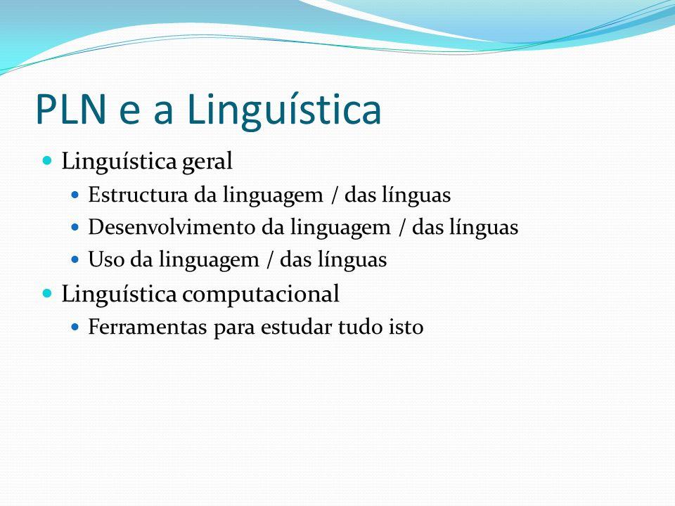 PLN e a Linguística Linguística geral Estructura da linguagem / das línguas Desenvolvimento da linguagem / das línguas Uso da linguagem / das línguas
