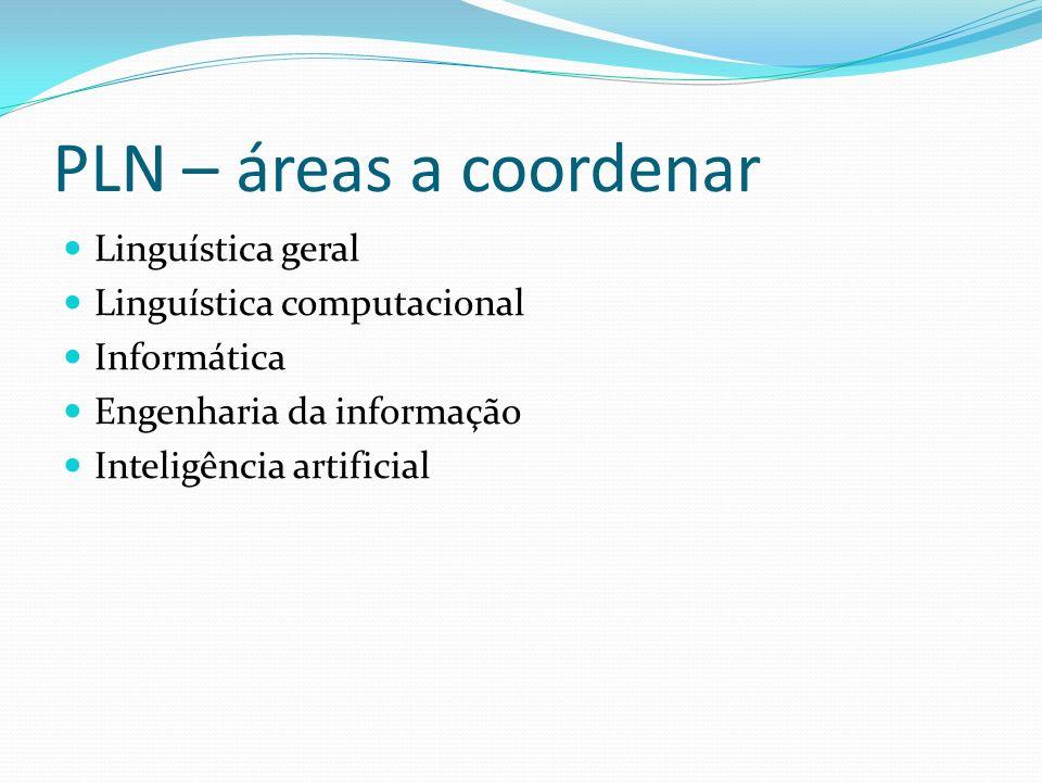 PLN – áreas a coordenar Linguística geral Linguística computacional Informática Engenharia da informação Inteligência artificial
