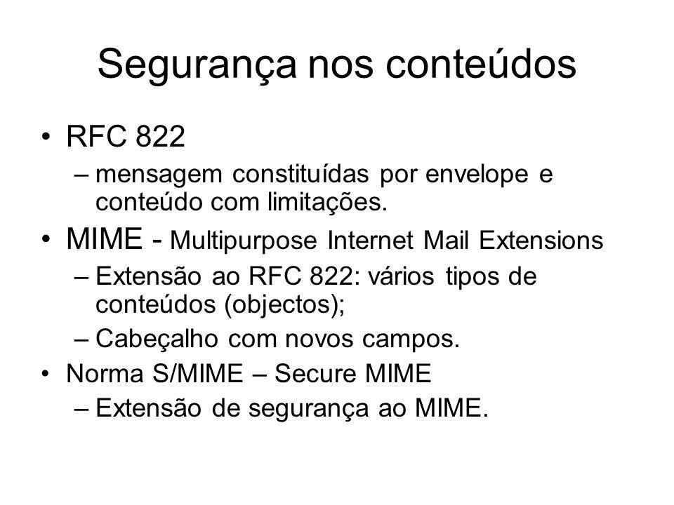 Segurança nos conteúdos RFC 822 –mensagem constituídas por envelope e conteúdo com limitações. MIME - Multipurpose Internet Mail Extensions –Extensão