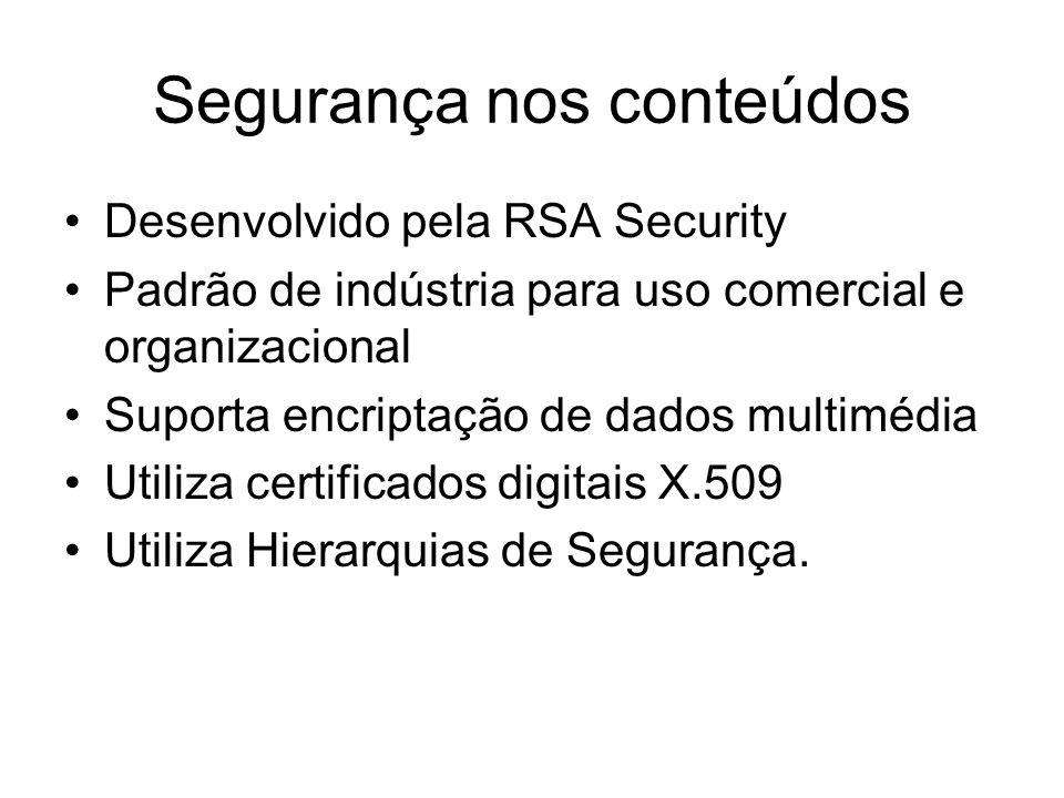 Segurança nos conteúdos Desenvolvido pela RSA Security Padrão de indústria para uso comercial e organizacional Suporta encriptação de dados multimédia