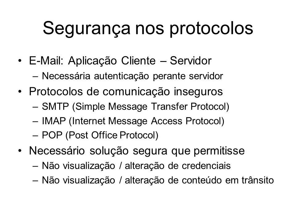 Segurança nos protocolos Utilização de SSL (Secure Socket Layers) –SMTP / SSL –IMAP / SSL –POP / SSL Implementado de duas formas –Integrado no servidor e cliente –Transparente para servidor e cliente Servidor: stunnel –p stunnel.pem –d dport –r localhost:sport Cliente: stunnel –c –d sport –r mailserver:dport