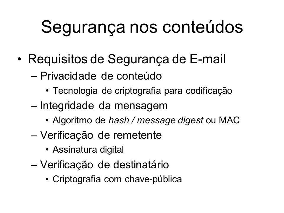 Segurança nos conteúdos Requisitos de Segurança de E-mail –Privacidade de conteúdo Tecnologia de criptografia para codificação –Integridade da mensage