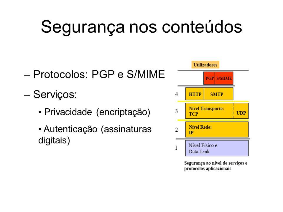 Segurança nos conteúdos PGP - Pretty Good Privacy Versões –Primeira em 1991, –Comercial em 1997, Network Associates, –OpenPGP, IETF RFC 2440.