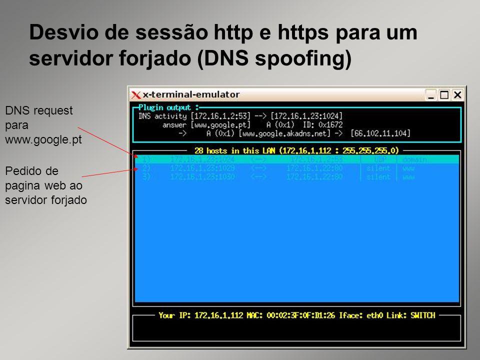 31 Desvio de sessão http e https para um servidor forjado (DNS spoofing) DNS request para www.google.pt Pedido de pagina web ao servidor forjado