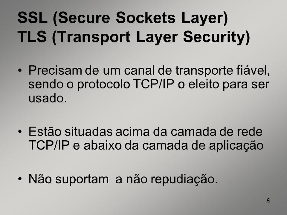 8 SSL (Secure Sockets Layer) TLS (Transport Layer Security) Precisam de um canal de transporte fiável, sendo o protocolo TCP/IP o eleito para ser usad