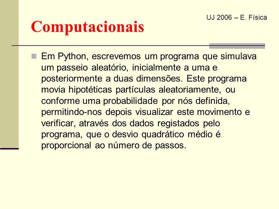 Computacionais Em Python, escrevemos um programa que simulava um passeio aleatório, inicialmente a uma e posteriormente a duas dimensões. Este program