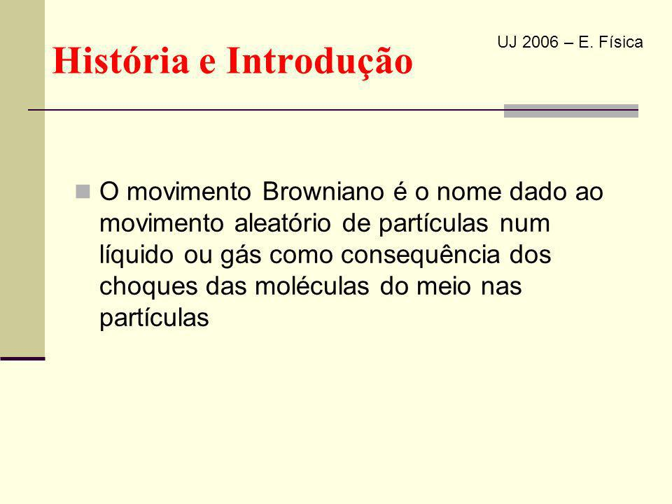 História e Introdução O movimento Browniano é o nome dado ao movimento aleatório de partículas num líquido ou gás como consequência dos choques das mo