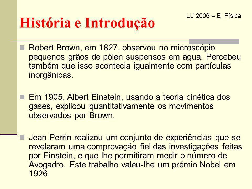 Robert Brown, em 1827, observou no microscópio pequenos grãos de pólen suspensos em água. Percebeu também que isso acontecia igualmente com partículas