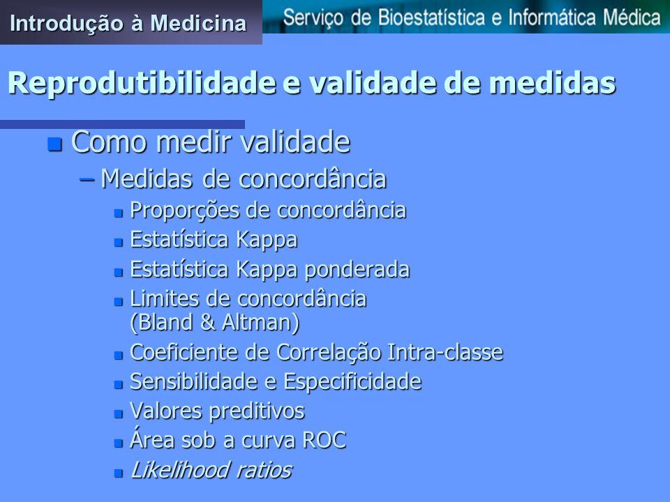 Introdução à Medicina Reprodutibilidade e validade de medidas n Como melhorar procedimentos pouco válidos –Treino do observador –Criação e aplicação d
