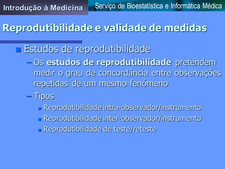 Reprodutibilidade e validade de medidas n Reprodutibilidade de medidas –Capacidade de medir consistentemente um determinado fenómeno em medições repet