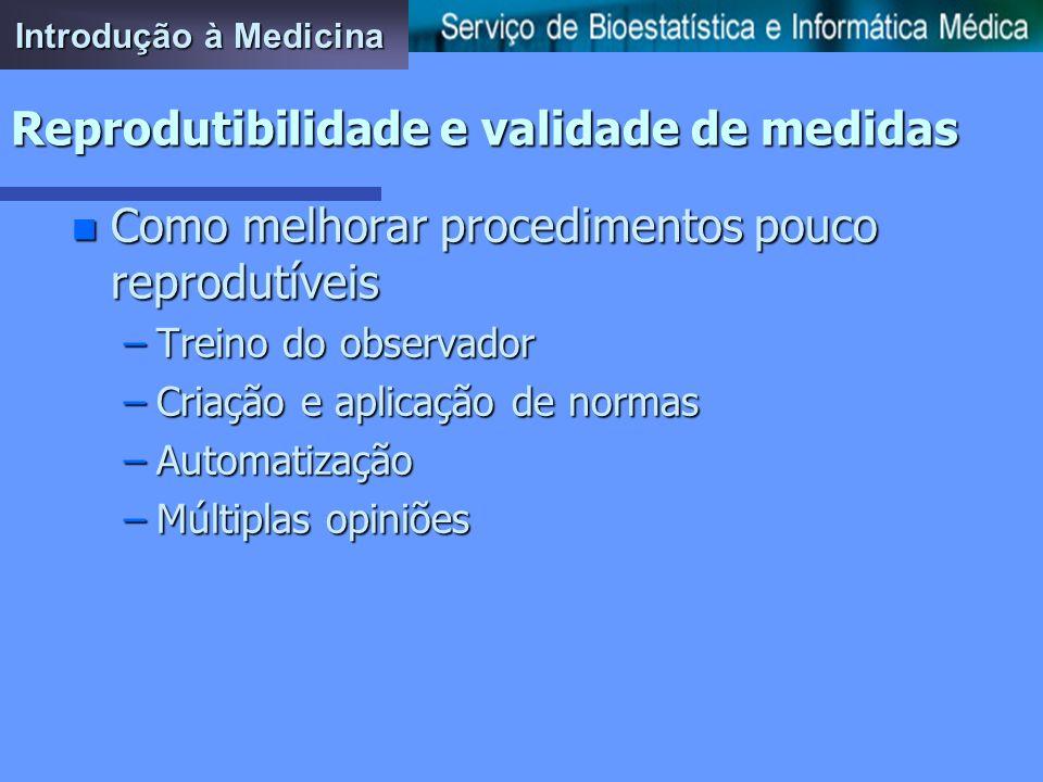 Introdução à Medicina Reprodutibilidade e validade de medidas n Consequências da falta de reprodutibilidade –Consequências a nível científico –Consequ