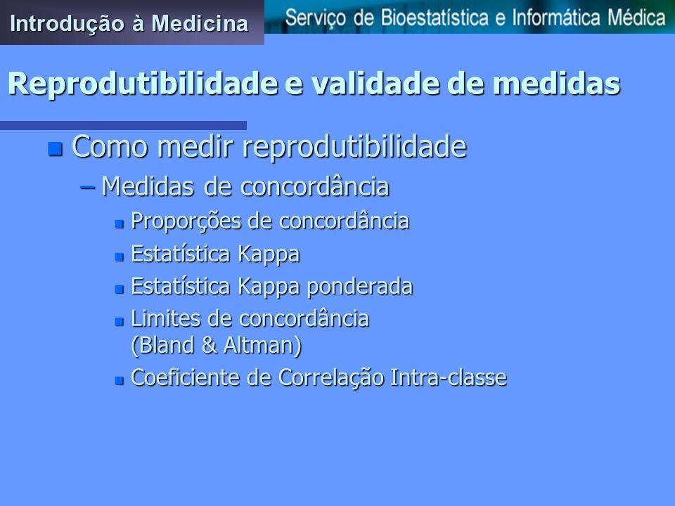Introdução à Medicina Reprodutibilidade e validade de medidas n Como melhorar procedimentos pouco reprodutíveis –Treino do observador –Criação e aplic