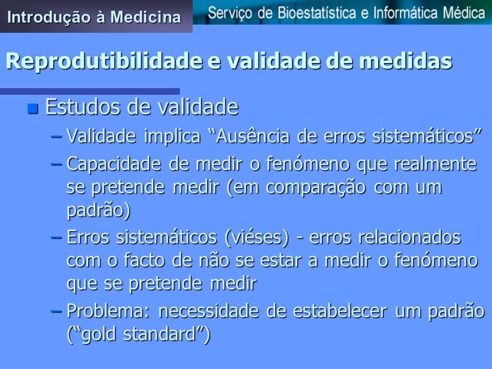 Introdução à Medicina Reprodutibilidade e validade de medidas n Como medir reprodutibilidade –Medidas de concordância n Proporções de concordância n E
