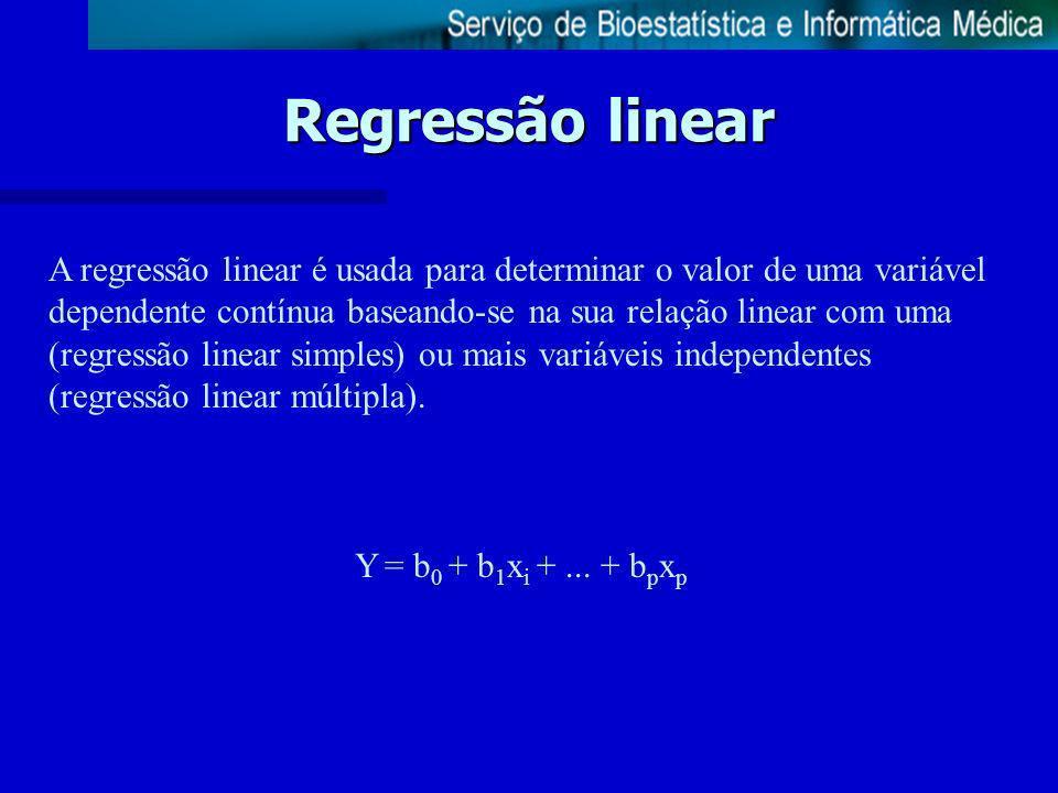 Regressão linear A regressão linear é usada para determinar o valor de uma variável dependente contínua baseando-se na sua relação linear com uma (reg