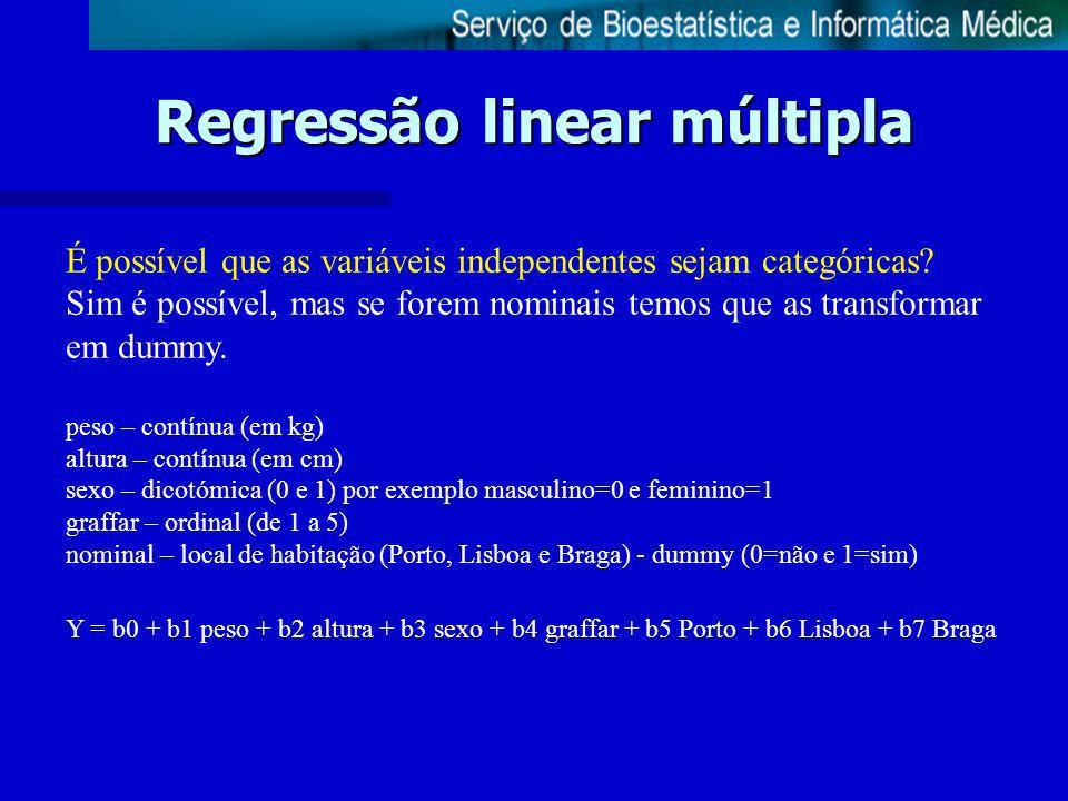 Regressão linear múltipla É possível que as variáveis independentes sejam categóricas? Sim é possível, mas se forem nominais temos que as transformar